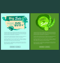 big summer discount posters set sale emblems palms vector image