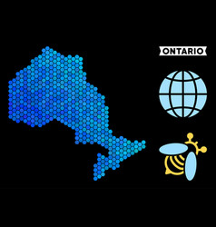 Blue hexagon ontario province map vector