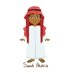 Boy in saudi arabia country national clothes vector