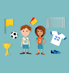 Bundle of soccer elements with characters vector