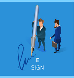 business man put electronic signature on contract vector image
