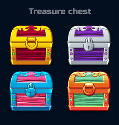 Cartoon antique treasure chest in different colors vector