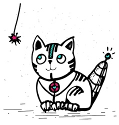cat robot is going to play with a rope vector image