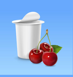 Cherry realistic icon and packing yogurt container vector
