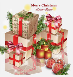 christmas gifts realistic merry christmas vector image