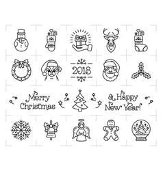 christmas icons set holiday symbols new year vector image