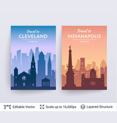 cleveland and indianapolis famous city scapes vector image