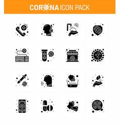 coronavirus prevention 25 icon set blue keyboard vector image