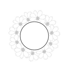 Cosmos flower outline banner wreath vector