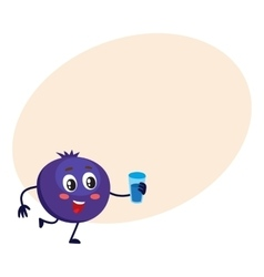 Cute and funny comic style blueberry character vector