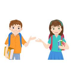 cute cartoon schoolboy and schoolgirl with books vector image