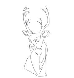 deer portrait lines vector image