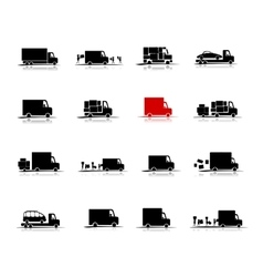 Delivery set of 16 cars for your design vector image