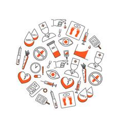 diabetes treatment thin line round design template vector image