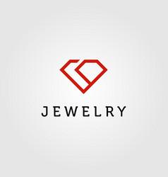 Diamond logo jewelry line art monoline icon vector