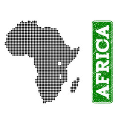 Dotted map of africa and grunge rectangle rounded vector
