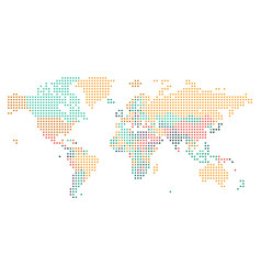 dotted world map with countries borders vector image