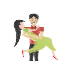 Drawing loving couple cheerful vector