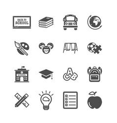 education icons back to school and learning of vector image