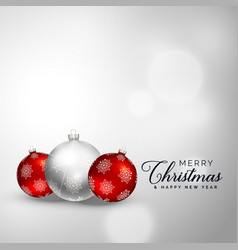 elegant merry christmas decoration balls vector image