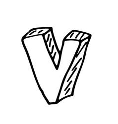 English alphabet - hand drawn letter V vector