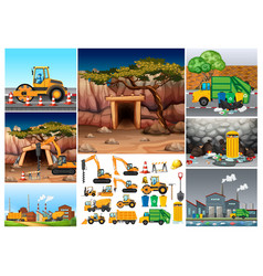 excavator tractors working in different sites vector image