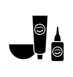 Eyebrows and eyelash dye kit glyph icon vector