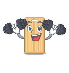 Fitness wooden cutting board character cartoon vector