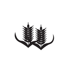 Flat black wheat icon vector