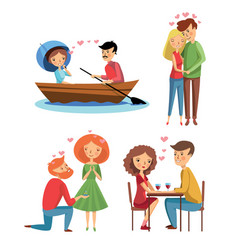 flat set of loving couples in different vector image
