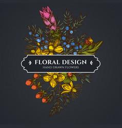 Floral bouquet dark design with juniper hypericum vector