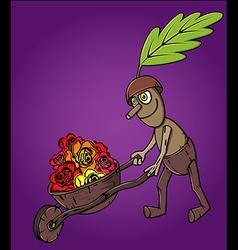 Forest oak man wooden handcart full of flowers vector