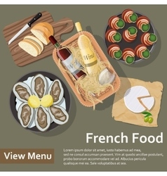 French food Basket with wine and food Flat Lay vector image