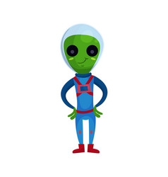 friendly smiling green alien with big eyes wearing vector image