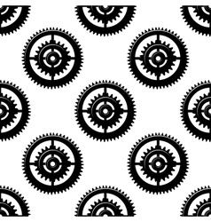 Gears and pinions seamless pattern vector image