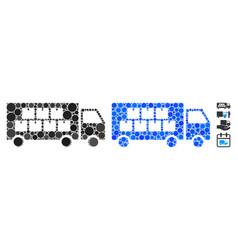 goods transportation truck mosaic icon spheric vector image