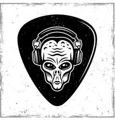 Guitar mediator with alien head in headphones vector