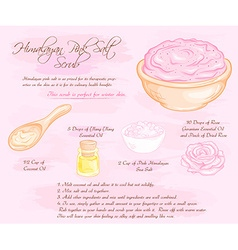 Hand drawn of hymalayan pink rose salt scrub vector