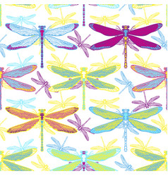 Hand drawn stylized dragonflies seamless pattern vector