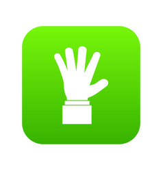 hand showing five fingers icon digital green vector image