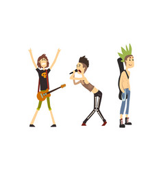heavy rock musicians funny rock stars characters vector image