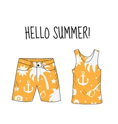 Hello summer T-shirt and shorts with beach print vector image