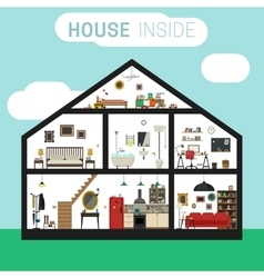 House inside interior vector