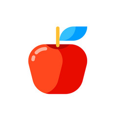 icon red apple in flat style vector image