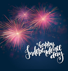 independence day greetings card with hand vector image