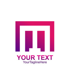 initial letter m logo template colorful square vector image