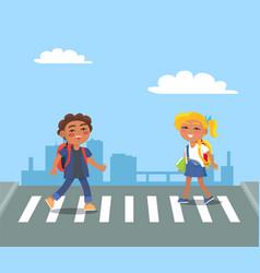 kids crossing street on pedestrian in urban city vector image