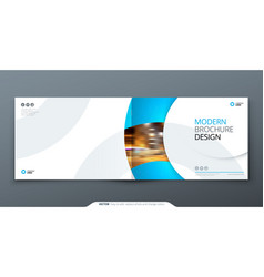 Landscape brochure design blue corporate business vector