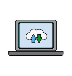 Laptop download and upload to cloud icon symbol vector