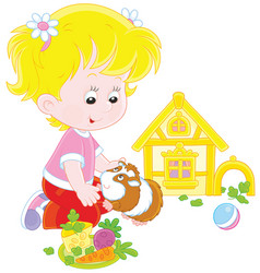little girl and her cavy vector image